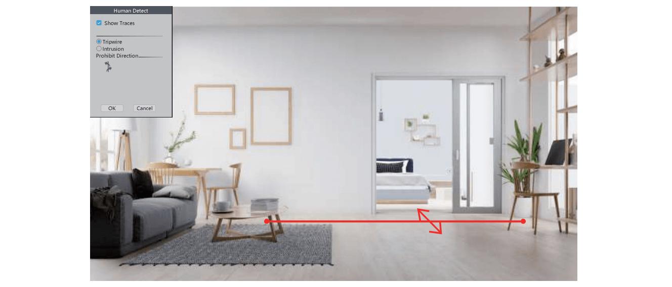 Rule - Safe Zone & Line Cross Alarm